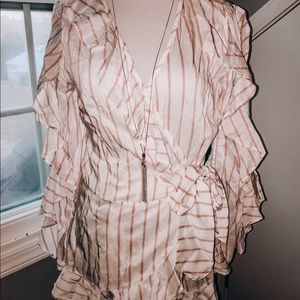 Nordstrom rack white and pink stripe blouse top